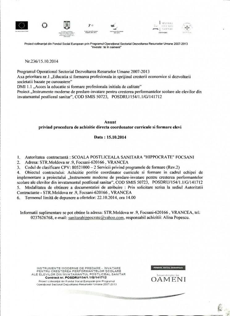 Anunț privind procedura de achiziție directă coordonator curricule și formare elevi