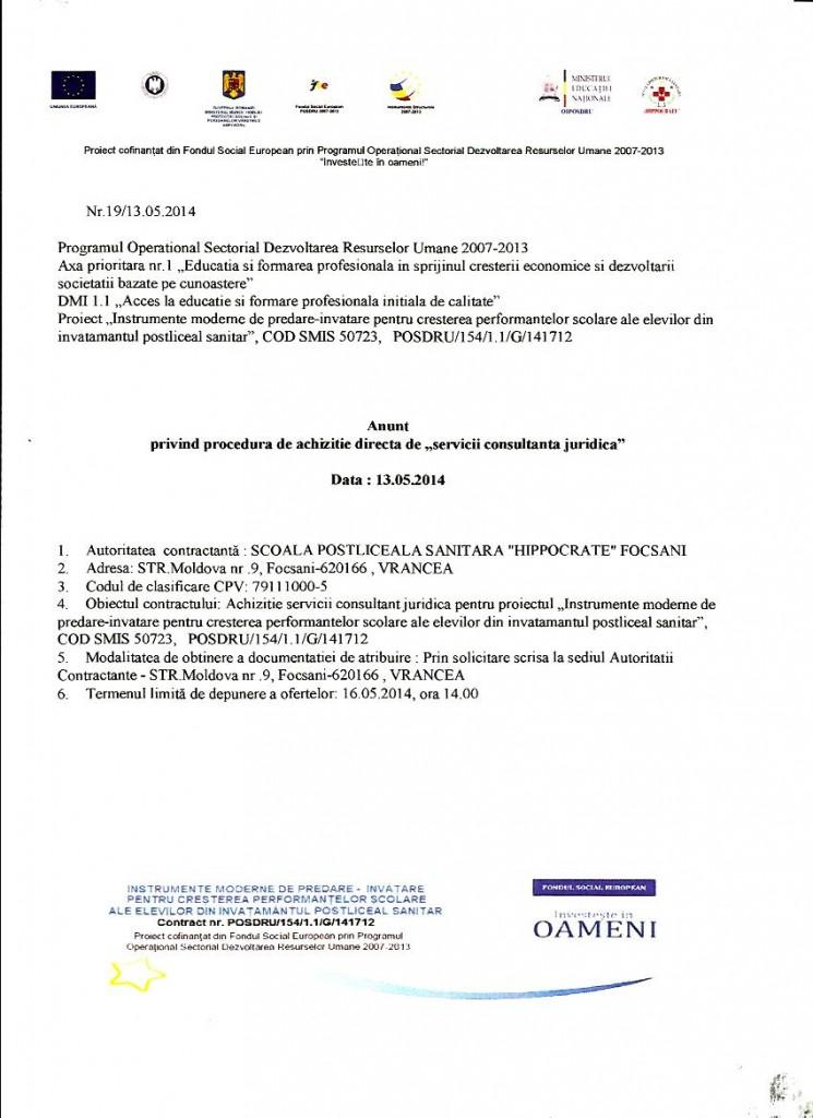"""Anunț privind procedura de achiziție directă de """"servicii consultanță juridică"""""""
