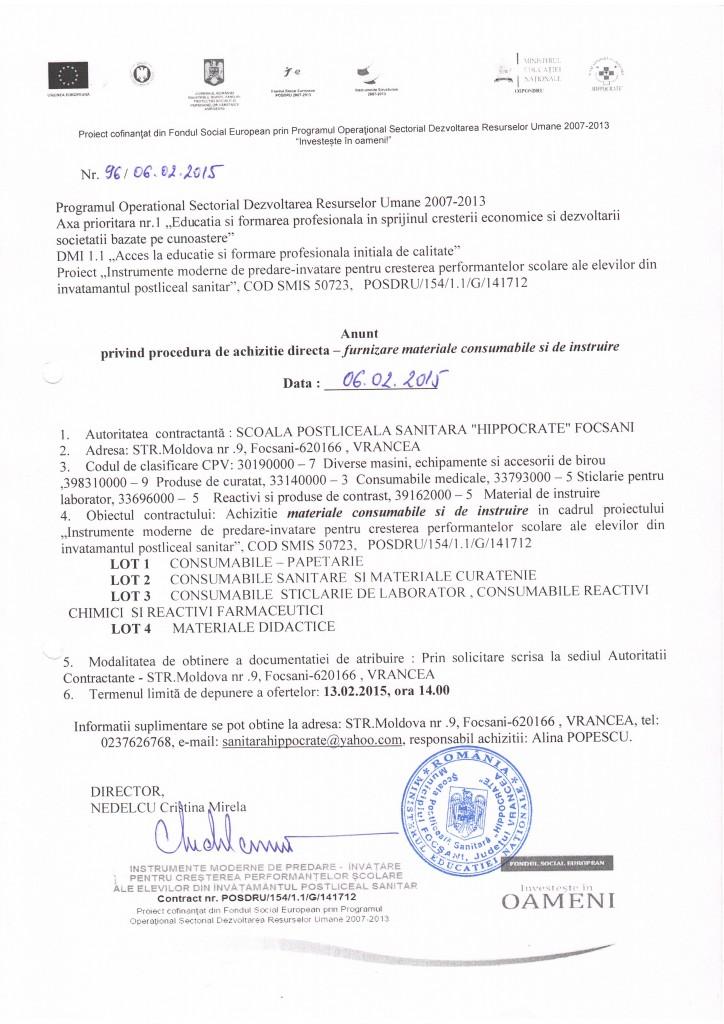 Anunț privind procedura de achiziție directă - furnizare consumabile si de instrure