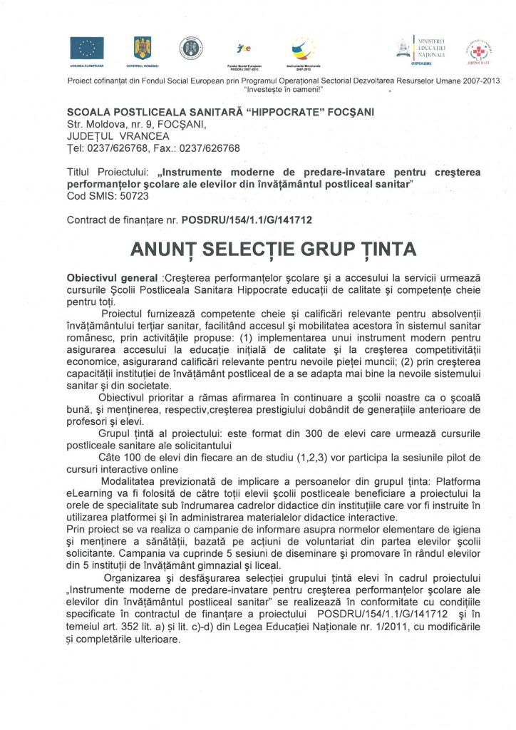 Anunț selectie grup tinta