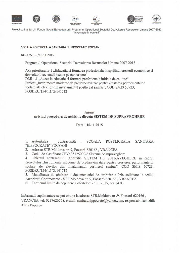 Anunt sistem supraveghere 16.11